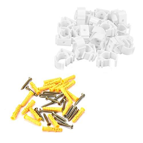 Abrazaderas de tubería, Wilecolly 20 piezas 16/20/25/32 mm PPR abrazadera de tubería de agua Hebilla fija de tubería de gas con tornillos accesorios de tubería(20mm)