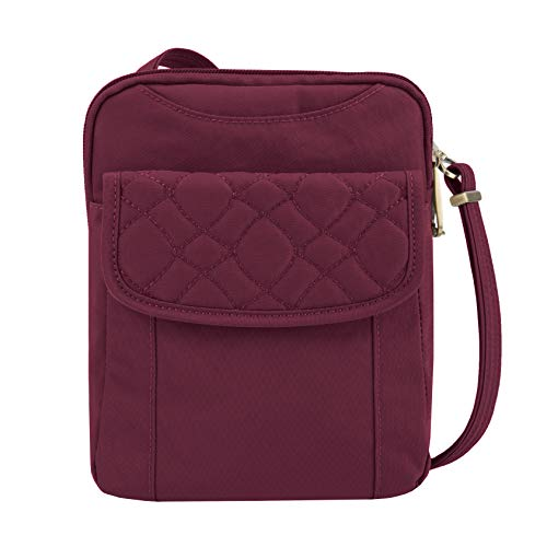 Travelon Anti-Theft Signature Quilted Slim Pouch, Ruby, One Size