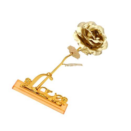 Homoyoyo Oro Sumergido Rosa Tallo Largo Eternidad Rosa Flor Artificial Rosa Flores para Siempre Preservado Rosa Real con Amor Soporte para El Día de San Valentín Cumpleaños Boda Regalo