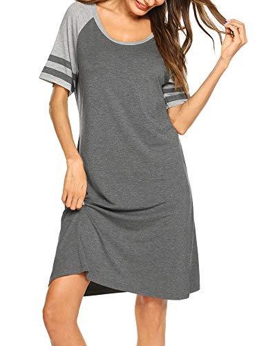 Hotouch Cotton Nightdress Women's Short Sleeve Sleepwear Sleep Shirt Nightgowns Grey L