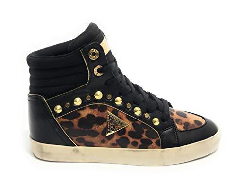 Scarpe Donna Guess Sneaker Alto Mod. Porcia Bootie in Ecopelle Nero/leopardato D20GU49