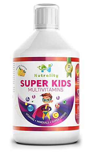 Nutrality Super Kids Liquid Multivitamin Supplement, 500 mL, Advanced Vitamin Superfood Greens Blend with CoQ10, Lutein and Spirulina, Supports Brain and Cardiovascular Health, 33 Days Supply