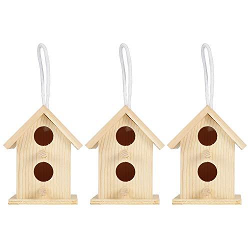Bigking Nidos de pájaros, 3 Piezas de Innovador Adorno de Jaula de Nido de casa de pájaros de Madera para Exteriores para decoración de jardín