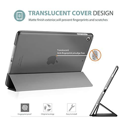 Procase Hülle für iPad 10.2 Zoll 2020 8th Gen/2019 7th Gen, Dreifach Falt Klapp Schutzhülle Case, Ultra Dünn Leicht Smart Cover mit Translucent Frosted Rück –Grau