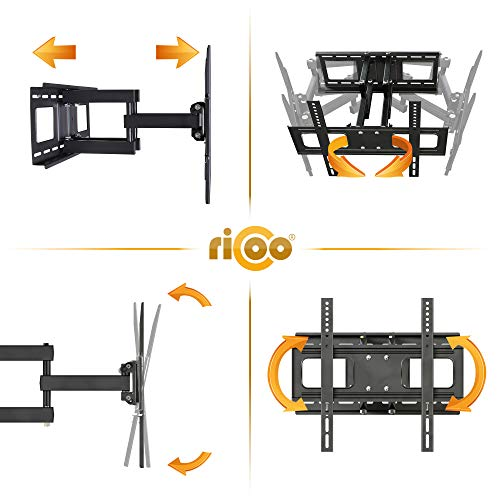 RICOO LCD TV Wandhalter Schwenkbar Neigbar S1544 Fernseher Wandhalterung Halterung Fernsehhalterung LED Flachbildschirm ca.76-165cm / 30′- 32′ – 42′ – 47′- 55′ – 65′ Zoll - 3