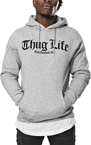 Mister Tee Thug Life Old English Hoodie, Grey, S