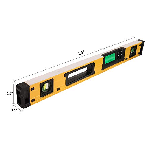 24-Inch Digital Torpedo Level and Protractor | Neodymium Magnets | Bright LCD Display | IP54 Dust/Water Resistant smart level with Carrying Bag