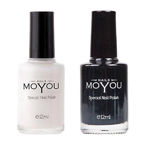 MoYou Nail Art, 2 Stempel Nagellack Bundle: Weiß & Schwarz, Nagellack Set