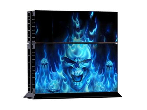 Gaminger Playstation 4 - Kit de Skins (Fundas Adhesivas) para Consola + 2 mandos de Control – Blue Fire Skull