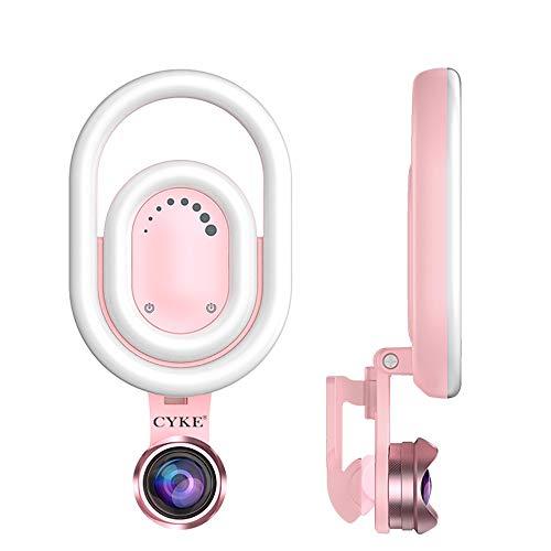 NBWS Teléfono Móvil Lente de Rosa LED Autodisparador lámpara, 15x Lente Macro de Gran Angular de 110°, 9Brillo Ajustable, Adecuado para iPhone, Samsung, HTC y Otros