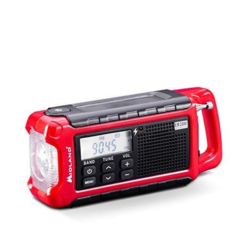 Midland ER200 Radio portátil multifuncional, Power Bank de emergencia 2200 mAh y linterna LED, radio AM/FM con carga a manivela, solar y USB – 1 radio de emergencia, baterías recargables, cable USB