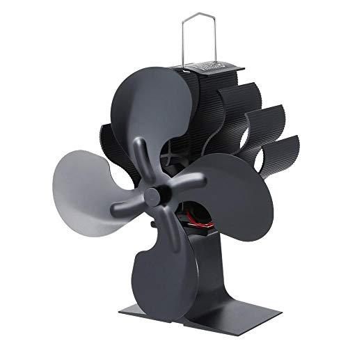 APQMR Kaminventilator Klein Energy Quiet 4 Blades Kaminventilator Holzofen Hot Power Kamin Mini-Ventilator Wärmebetriebener Ofenventilator Effiziente Wärmeverteilung
