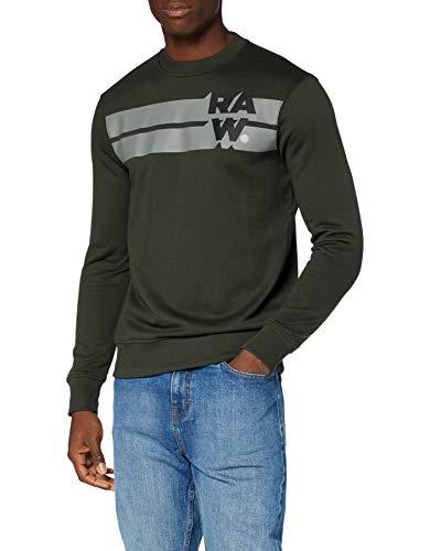 G-STAR RAW Herren Sweater Logo Blocked, Asfalt A613-995, Large