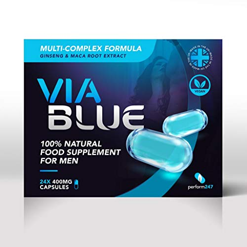 Via Blue (3 x 400mg) Strong Natural Supplement for Men with Maca Root, Panax Ginseng & Tribulus. Male Enhancing Capsule. Performance, Stamina & Energy. Natural Male Support & Enhancement Supplement.