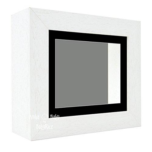 Bilderrahmen, 15,2 x 12,7 cm, mit schwarzem Passepartout und grauem Hintergrund, für Bilder/Schattenboxen, dick, Dekoration, Rahmen, Galerie, Vitrine