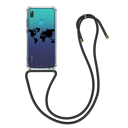 kwmobile Hülle kompatibel mit Huawei P Smart (2019) - Silikon Handyhülle mit Kette - Schwarz Transparent Travel Umriss