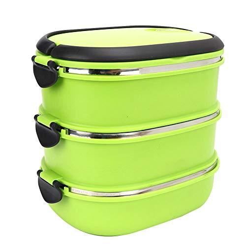 Edelstahl Bento Boxen tragbare Isolierung Thermo-Lunchbox Lebensmittelbehälter für Picknick im Freien MEHRWEG VERPACKUNG(Three Layer)