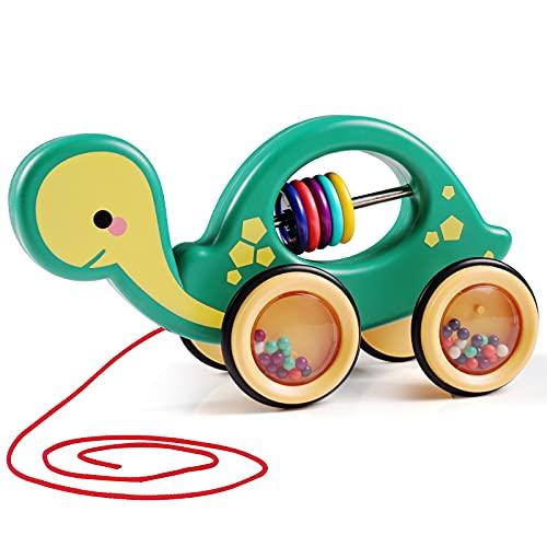 MOOKLIN ROAM Tartaruga da Passeggio, Giocattolo Ida Tirare, Tirare Tartaruga per Bambini, Cartoni Animati Giocattolo per Bambini 1 2 3 Anni