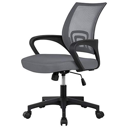Yaheetech Bürostuhl, Ergonomischer Schreibtischstuhl, Drehstuhl Chefsessel mit Netzbezug, Office Desk Chair mit Armlehnen, Höhenverstellbar