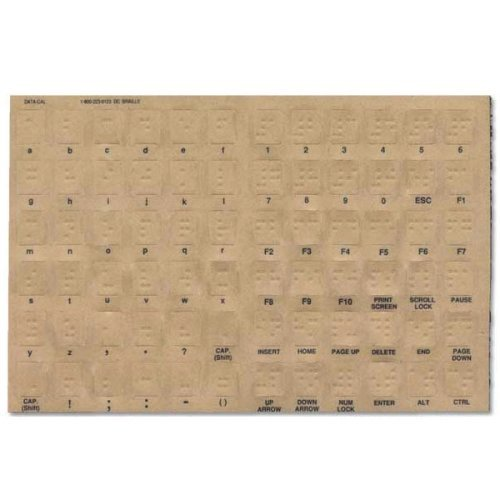 Transparent Braille Computer Keyboard Overlays Stickers (Lexan Material and 3M Adhesive Does Not Slip, Ooze, or Curl) for the Blind and Visually Impaired (Windows PC)