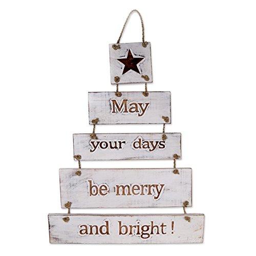 NOVICA Letrero de Madera Blanca con Texto en inglés Good Wishes