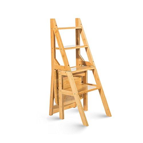 XUE Multifunktionale Leiter Stuhl Massivholz Haus Im Freien Beweglicher Anhebender Schemel Doppelzweck Faltender Treppenstuhl 4 Tritt Leiter A ++ (Farbe : Holz Farbe)