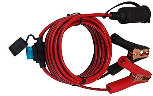 Digit.Tail Cable alargador para Encendedor De Cigarrillos, [4m - Fusible 25A 250V] Pinze di Coccodrillo a Hembra Enchufe Conector para Automóvil Neveras-de-Viaje, Bombas, Aspiradoras-de-Mano