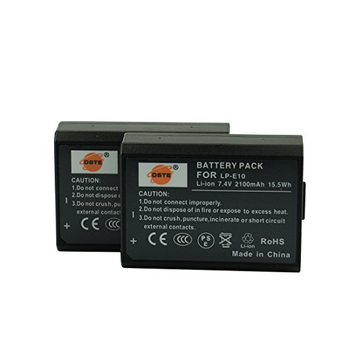 DSTE 2-Pacco Ricambio Batteria per Canon LP-E10 EOS 1100D 1200D EOS Kiss X50 X70 EOS Rebel T3 T5
