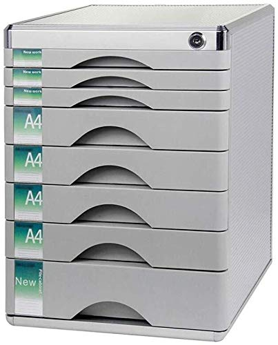 Classeur avec tiroir Verrouillables de stockage de données en alliage d'aluminium Boîte de table PC de bureau Armoire à tiroirs Landslide Voie Petit White Label - 30x36x40.5cm Fournitures de bureau