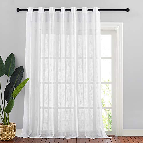 NICETOWN Linen Look Long Sheer Curtains - Casual Style White Grommet Top Window Treatment Semi Voile Drape Panels for Sliding Glass Door, W100 x L95, 1 Pack