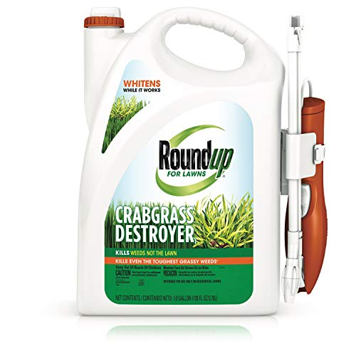 Roundup for Lawns Crabgrass Destroyer1 - Tough Weed Killer, Kills Crabgrass, Apply This Product to Kentucky Bluegrass, Fine Fescue, Perennial Ryegrass and Tall Fescue, 1 gal.