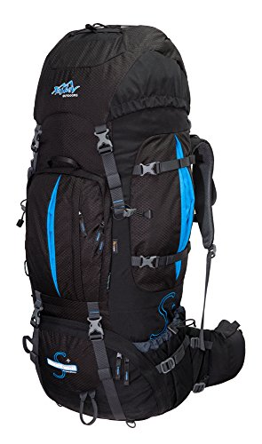 Tashev Outdoors Mount S+ Trekkingrucksack Front und Toplader Wanderrucksack Damen Herren Backpacker Rucksack groß 100l Plus 20l mit Regenschutz (Hergestellt in EU) (Schwarz & Blau)