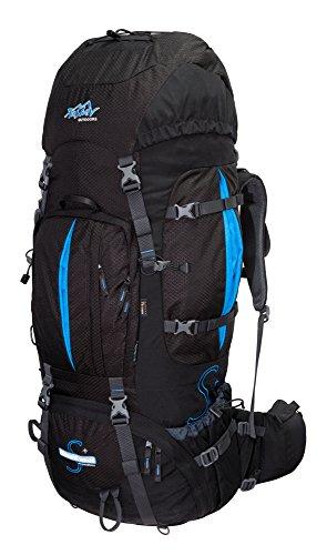 Tashev Outdoors Mount Trekkingrucksack Wanderrucksack Damen Herren Backpacker Rucksack groß 100l Plus 20l mit Regenschutz Schwarz & Blau (Hergestellt in EU)