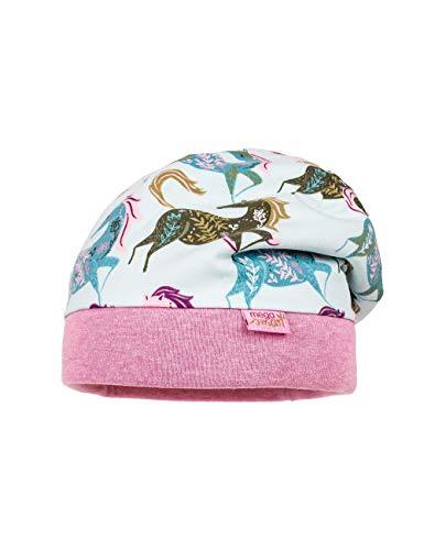 maximo Mädchen Beanie aus Jersey mit Pferden Mütze, Rosa (Pinkmeliert 85), (Herstellergröße: 51)