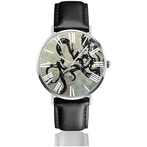 Vintage Skull Octopus Watch Lässige Armbanduhren aus schwarzem Leder