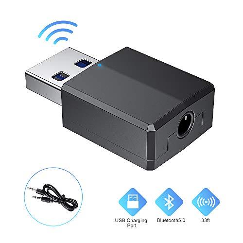 cabletrans Adattatore Bluetooth 5.0 USB, Ricevitore 5.0 USB&USB Dongle Hi-Fi,Trasmettitore Bluetooth con Cavo Audio Digitale da 3,5 mm per PC/Home/Cuffie/TV/Auto (USB Solo per Alimentazione) (Black)