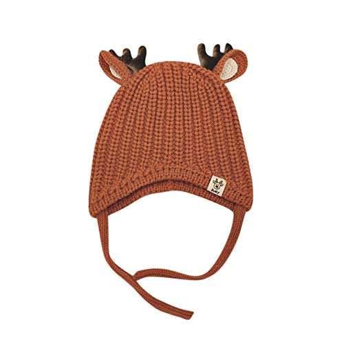 Cute Reindeer Antlers Baby Beanie Soft Warm Crochet Knitted Hat for Toddler Girls Boys