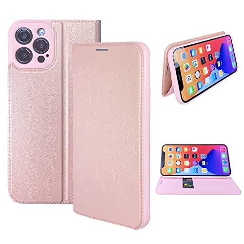 NOUSKE Cover PU Hybrid Pelle Compatibile con iPhone 12 PRO Max 6,7 Pollic [Custodia a Portafoglio][Flip Cover] - Oro rosa