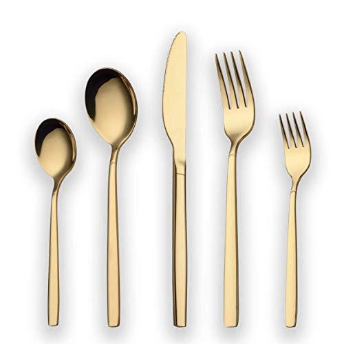 Berglander 30 Stück Titanium Gold Plated Besteck, 30 Stück Golden Besteck Set, Gold Besteck Set Besteck Sets, Service für 6 (Gold glänzend)
