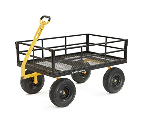 Gorilla Carts GOR1400-COM Heavy-Duty Steel Utility Cart with Removable Sides and 15-Inch Tires, 1400-Pound Capacity, Black
