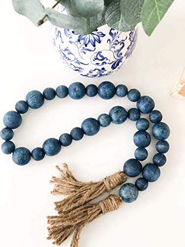 Blue Farmhouse Wood Bead Garland-Home Decor Beads-Nautical Decor-Mother's Day Gift