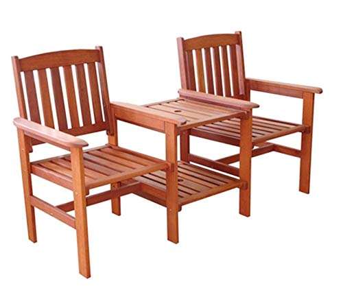 Garden Furniture Wooden Bench 2 Seater Love Seat Bench Patio Twin Chair With Table Set Companion Chair Set