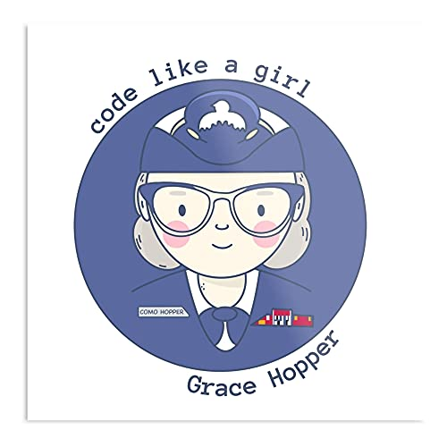 Grace Hopper Code Like A Girl - Póster tipográfico moderno para niña, diseño de oficina