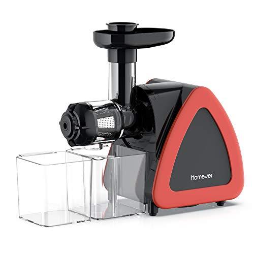 Slow Juicer Entsafter, Homever Entsafter Obst und Gemüse, Kauen entsafter mit Ruhiger Motor und Umkehrfunktion, Saftauffangbehälter und Reinigungsbürste, BPA-frei