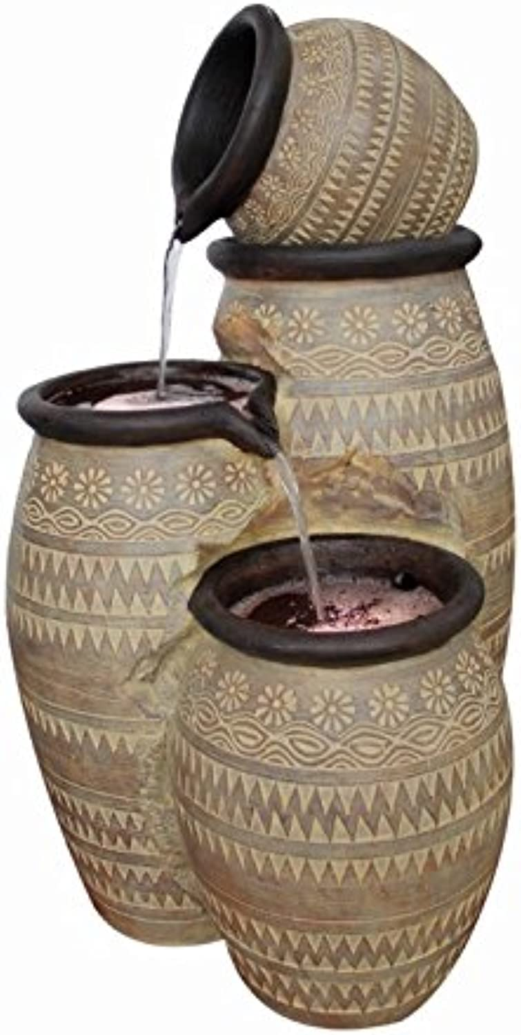 Mediterranean Pouring Bowls Lit Water Feature