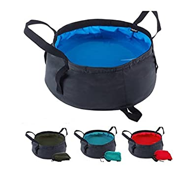 Portable Travel Outdoor Camping Hiking Wash Basin Bucket Sink Folding Camp Picnic Vegetables Basin Bucket Travel Footbath Foot Soak Basin Washbasin Fishing Bucket with Carrying Pouch, 8.6L