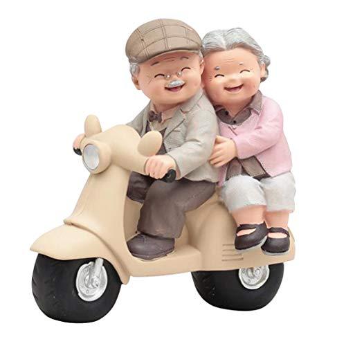 LOVIVER Love Grandparents Parents Anniversary Wedding Gift Resin Loving Elderly Couple Figurines Decoration Old Age Life Home Decor for Bedroom Living Room - Motorbike