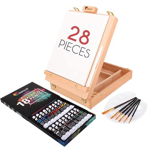 Zenacolor Acrylfarbe Set für Künstler - mit Malkoffer für Erwachsene aus Holy, Staffelei 18 Tuben Acrylfarben, 6 Malpinsel, Leinwand, Spachtelmesser und Mixpalette - Tragbares Maler Reise-Kit