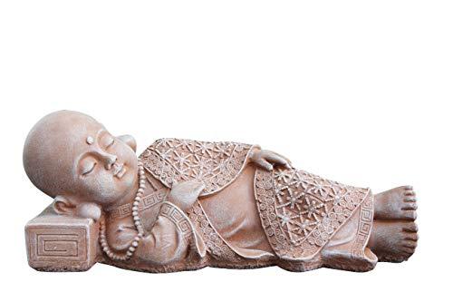 Tiefes Kunsthandwerk Buddha Figur liegend aus Stein - Terrakotta, Statue frostsicher und wetterbeständig für Haus und Garten