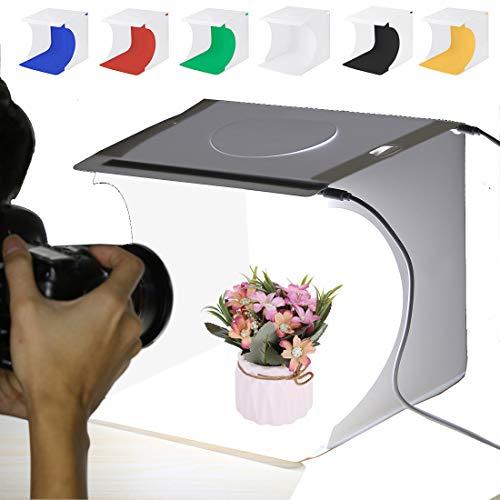 Caja de luz de estudio de fotos de 20 cm, kit de tienda de campaña plegable portátil para fotografía de casa con 6 fondos de color para joyas, accesorios, juguetes y artículos pequeños